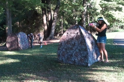 Laser tag party in public park